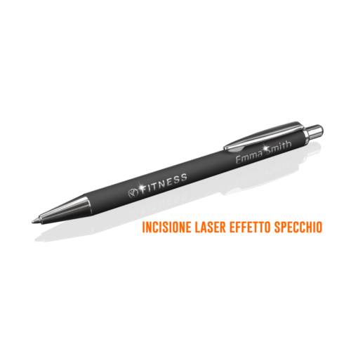 PP-DSUP penna soft touch nera incisione laser effetto specchio